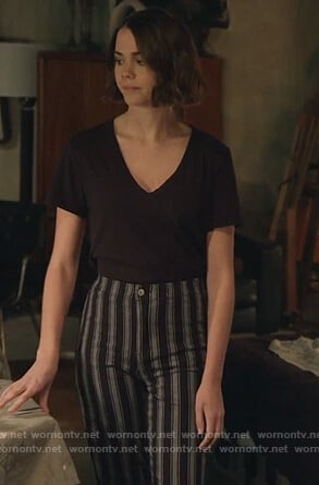 Callie's black striped pants on Good Trouble