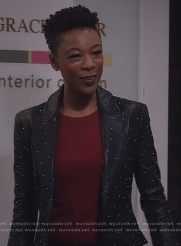 Samira Wiley's black studded jacket on Will and Grace