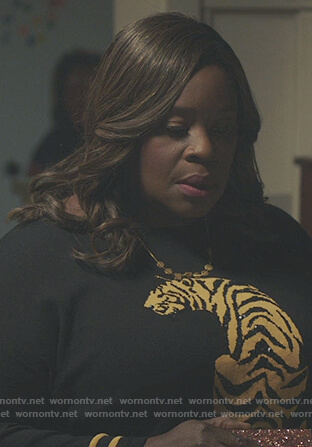 Ruby's black tiger embellished sweatshirt on Good Girls