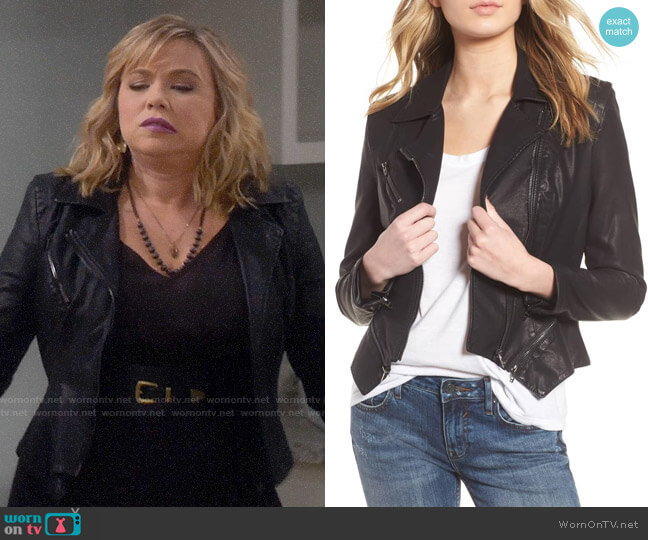 BlankNYC Faux Leather Moto Jacket worn by Kristin Baxter (Amanda Fuller) on Last Man Standing