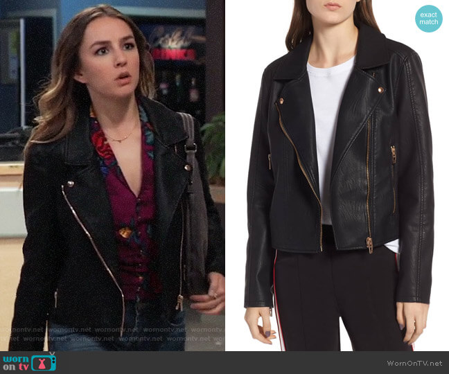 Blank NYC Meant to Be Moto Jacket with Removable Hood worn by Kristina Corinthos (Lexi Ainsworth) on General Hospital