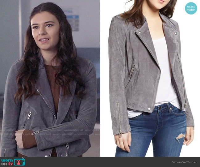 Blank NYC No Limit Suede Moto Jacket worn by Nia Nal (Nicole Maines) on Supergirl