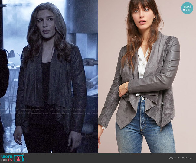 Blank NYC Odyssey Draped Coat worn by Dinah Drake (Juliana Harkavy) on Arrow