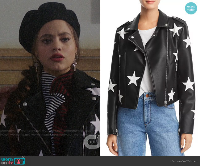 Blank NYC Star Faux Leather Moto Jacket worn by Maggie Vera (Sarah Jeffery) on Charmed