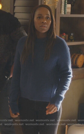 Michaela's blue button cuff sweater on How to Get Away with Murder