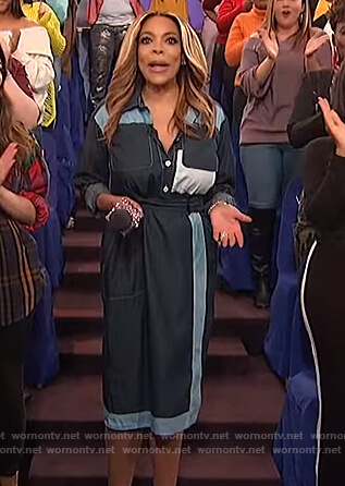 Wendy's blue chambray two tone dress on The Wendy Williams Show