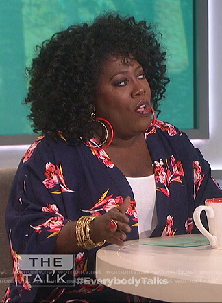 Sheryl's blue floral print kimono top on The Talk