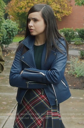 Ava's plaid mini skirt and moto jacket on PLL The Perfectionists