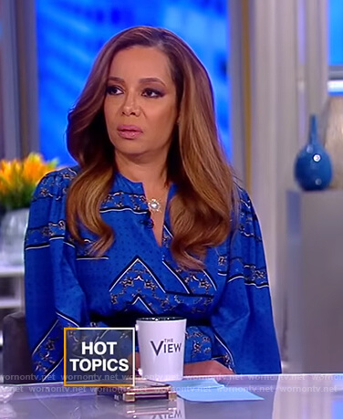 Sunny's blue printed maxi dress on The View