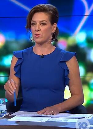 Gorgi's blue ruffle sleeve dress on The Project