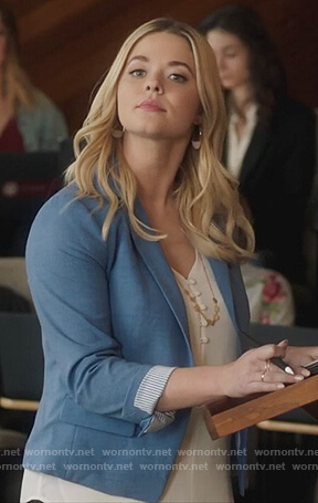 Ali's blue blazer and white cami on PLL the Perfectionists