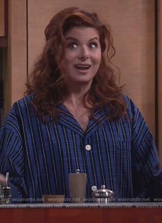 Grace's blue striped pajamas on Will and Grace