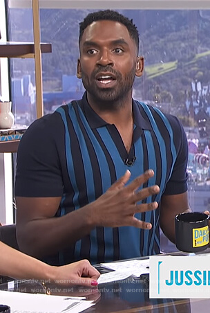Justin's blue striped polo on E! News Daily Pop