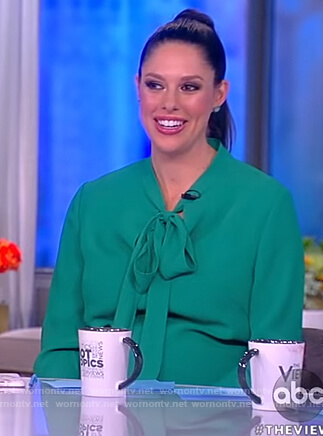 Abby's green tie neck dress on The View