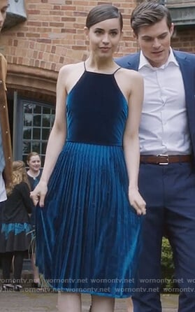 Ava's blue pleated dress on PLL The Perfectionists
