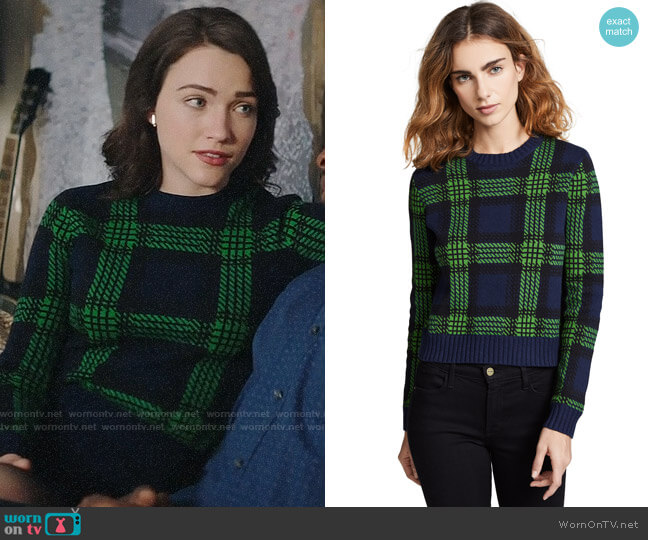 Bop Basics Tartan Plaid Sweater worn by Cara Bloom (Violett Beane) on God Friended Me