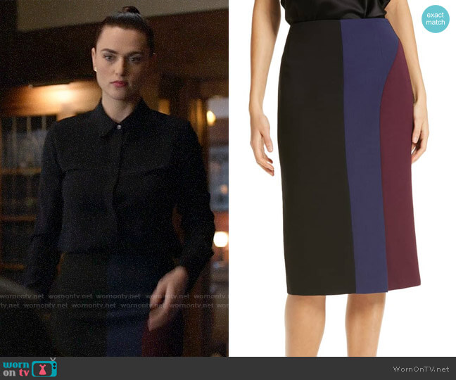 BOSS Velivia Colorblock Pencil Skirt worn by Lena Luthor (Katie McGrath) on Supergirl