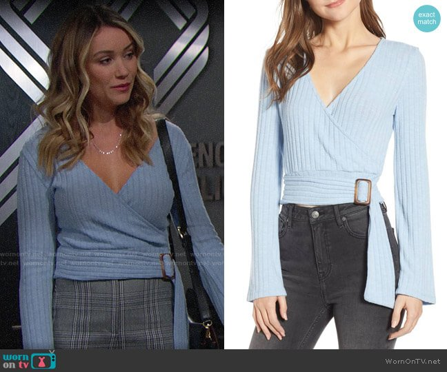 BP Belted Wrap Top worn by Florence (Katrina Bowden) on The Bold & the Beautiful