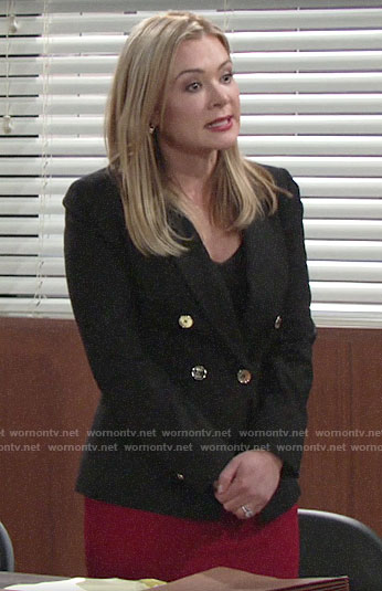 Brittany's black double-breasted blazer on The Young and the Restless