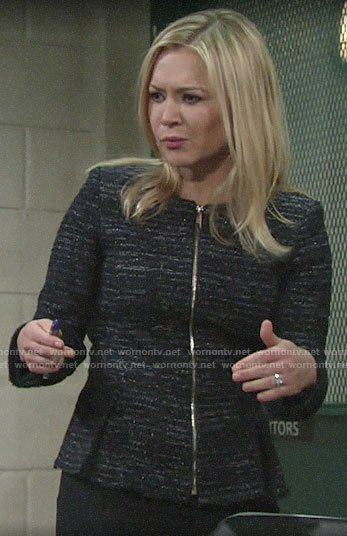 Brittany's navy tweed peplum jacket on The Young and the Restless