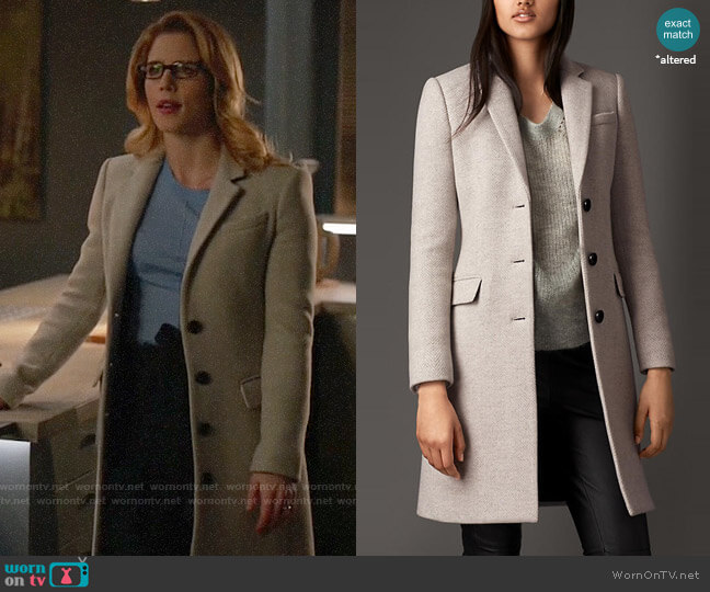 Burberry Virgin wool cashmere herringbone chesterfield coat worn by Felicity Smoak (Emily Bett Rickards) on Arrow