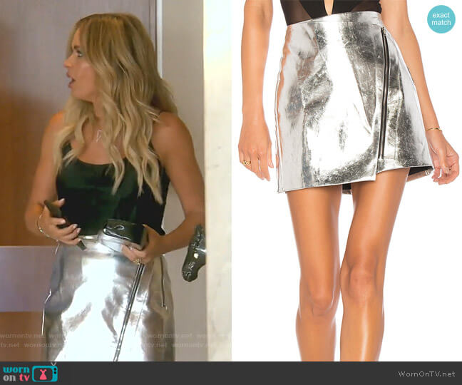 Nina Metallic Moto Skirt by By the way worn by Teddi Mellencamp Arroyave  on The Real Housewives of Beverly Hills