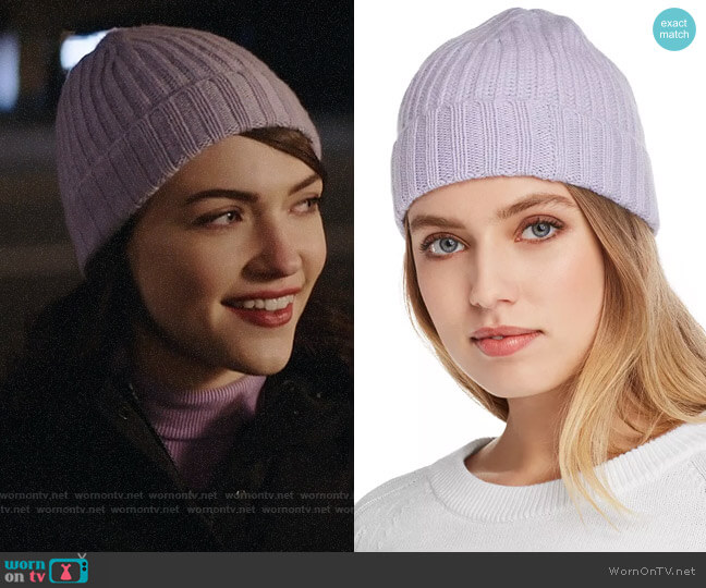 C by Bloomingdales Chunky Rib-Knit Cashmere Beanie in Heather Lilac worn by Cara Bloom (Violett Beane) on God Friended Me