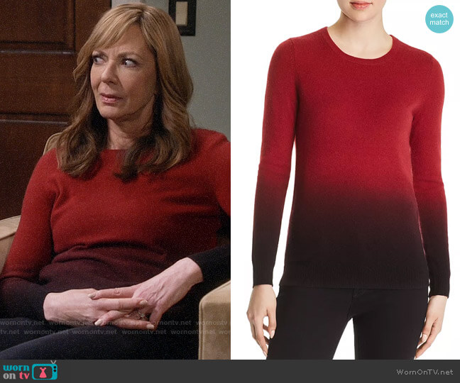 C by Bloomingdales Dip-Dye Cashmere Crewneck Sweater worn by Bonnie Plunkett (Allison Janney) on Mom