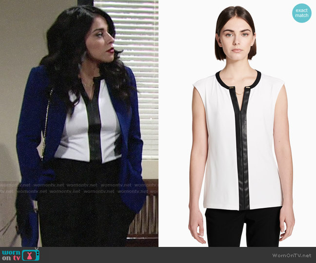 Calvin Klein Faux Leather Trimmed Jersey Top worn by Mia Rosales (Noemi Gonzalez) on The Young & the Restless