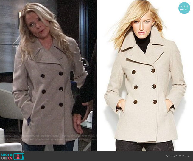 Calvin Klein Wool-Cashmere Double-Breasted Peacoat worn by Felicia Scorpio (Kristina Wagner) on General Hospital