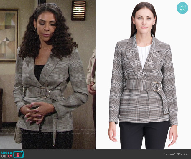 Calvin Klein Plaid Belted Jacket worn by Kerry Johnson (Alice Hunter) on The Young & the Restless
