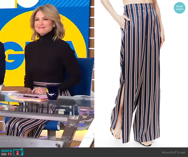 The Miles Pant Ink Stripe by Cami NYC worn by Amy Robach (Amy Robach) on Good Morning America