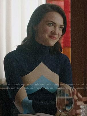 Cara's blue chevron sweater on God Friended Me