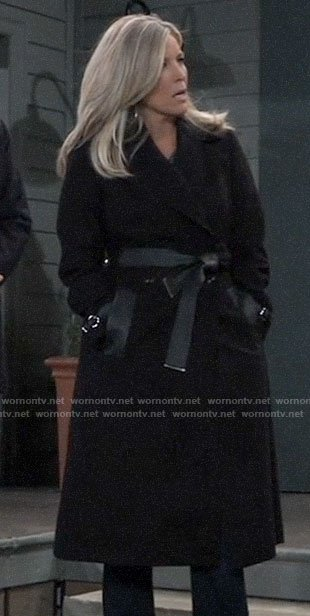 Carly's black leather trim wrap coat on General Hospital