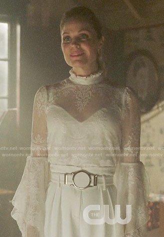 Charity's white lace bell-sleeve top on Charmed