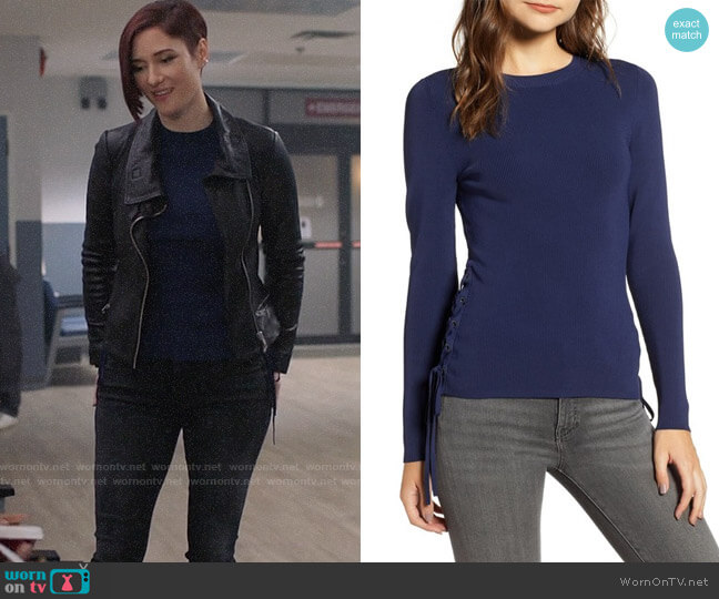 Chelsea28 Side Tie Sweater worn by Alex Danvers (Chyler Leigh) on Supergirl