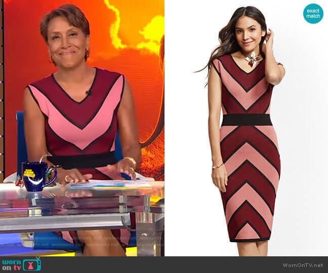 Chevron-Stripe Sheath Sweater Dress by New York & Company worn by Robin Roberts  on Good Morning America