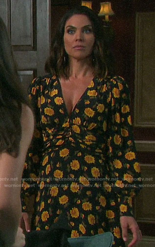 Chloe's orange floral long sleeved dress on Days of our Lives