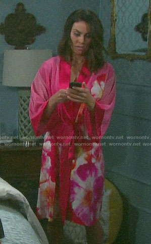 Chloe's pink floral robe on Days of our Lives