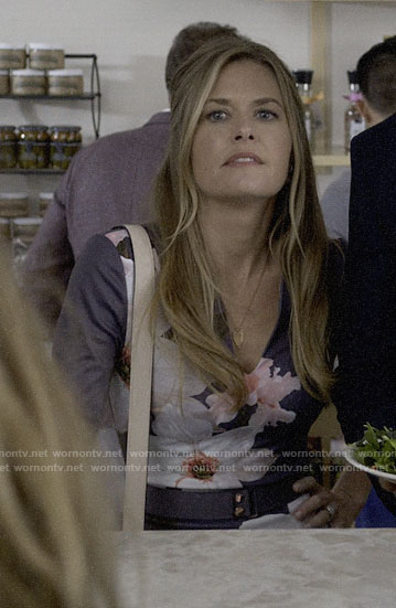 Christa's grey floral dress on Santa Clarita Diet