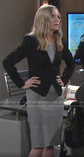 Christine's glenplaid sheath dress on The Young and the Restless