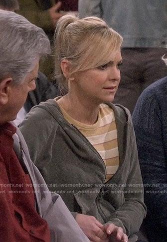 Bonnie's grey zebra striped sweater on Mom