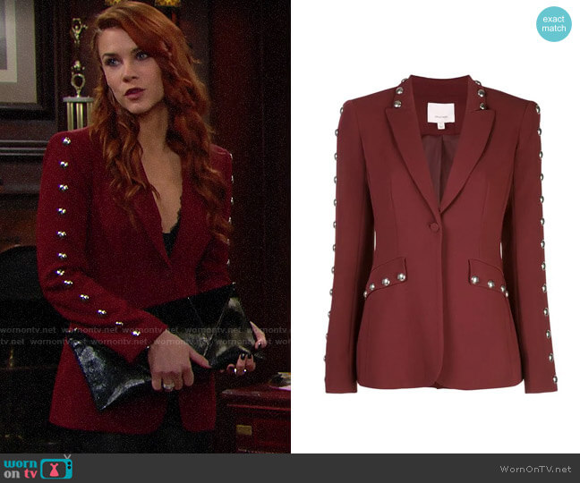 Cinq a Sept Studded Tailored Blazer worn by Sally Spectra (Courtney Hope) on The Bold & the Beautiful