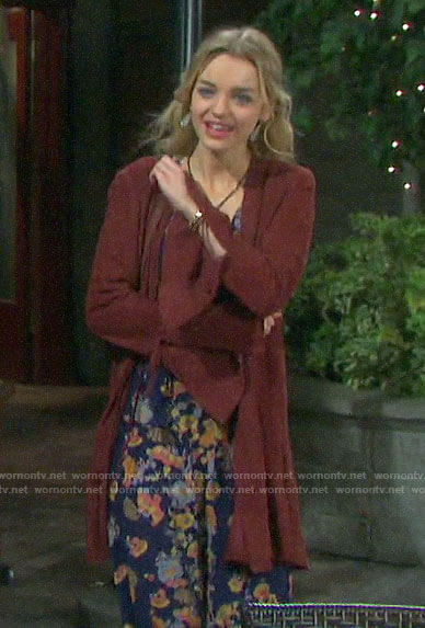 Claire's red suede bell-sleeve jacket on Days of our Lives