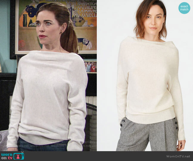 Club Monaco Adorelli Cashmere Sweater worn by Victoria Newman (Amelia Heinle) on The Young & the Restless
