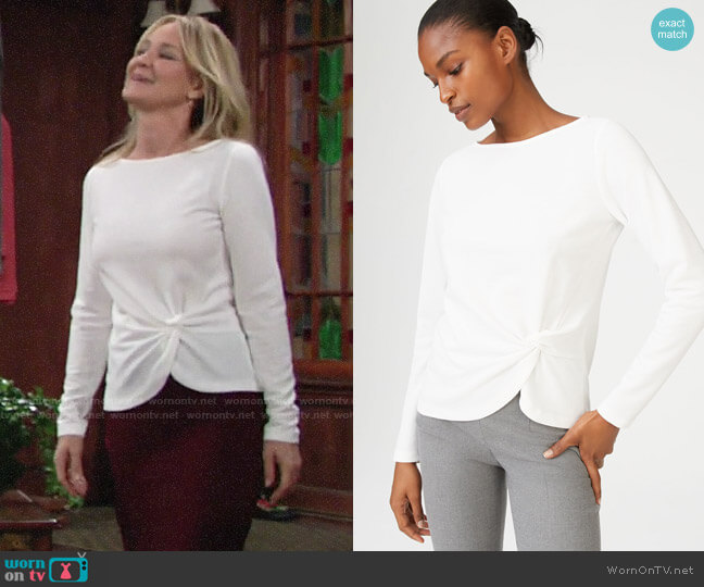 Club Monaco Haalie Twist Top worn by Sharon Collins (Sharon Case) on The Young & the Restless