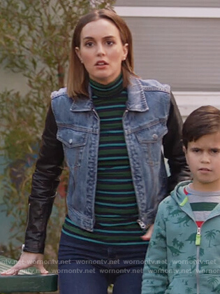 Angie's striped sweater and denim jacket with leather sleeves on Single Parents