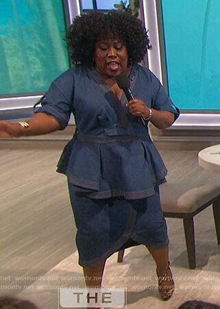 Sheryl's blue denim peplum dress on The Talk