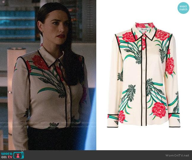 Diane von Furstenberg Oriental Print Shirt worn by Lena Luthor (Katie McGrath) on Supergirl