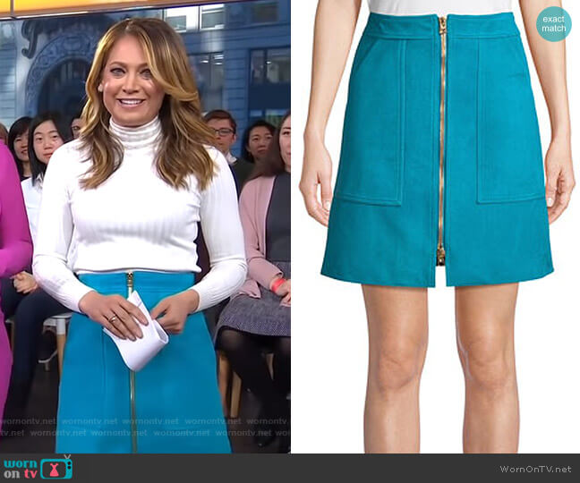 Suede Patch-Pocket Mini Skirt by Diane von Furstenberg worn by Ginger Zee  on Good Morning America
